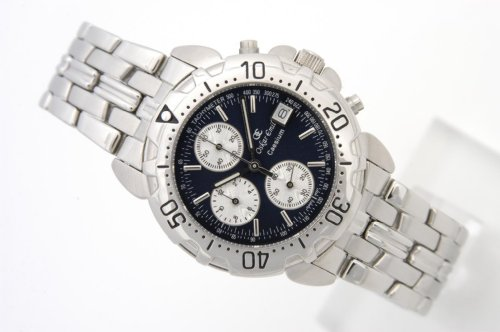 OSKAR EMIL CAESIUM chronograph navy dial, silver coloured stainless steel gents / mens watch