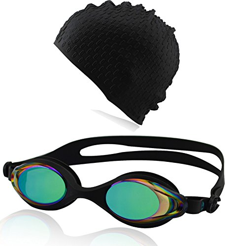 #DoYourSwimming Set Occhialini e cuffia da nuoto Goggle »Barracuda« + Cap, Top-Quality, perfect fit, 100% UV protection, Anti-fog. Come in a solid hard case. AF-400, black