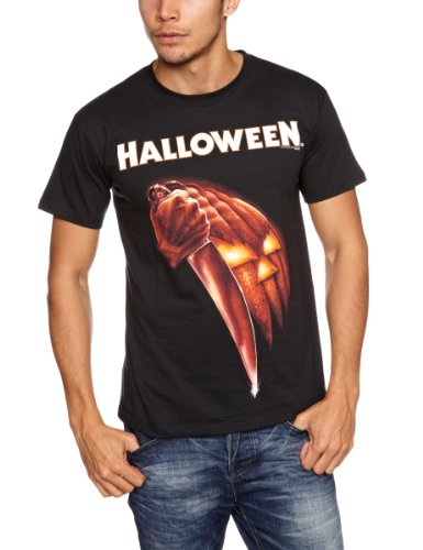 Plastic Head Halloween Knife Men's T-Shirt Black
