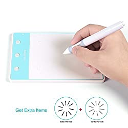 Huion 4 by 2.23 Inches Graphics Tablet 3 Express Keys Signature Board H420 WhiteBlue - H420WB