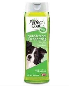 8 In 1 Pet Products DEOI670 Perfect Coat Antibacterial Deodorizing Dog Shampoo, 16-Ounce, Green Apple
