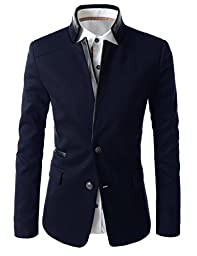 (LPJ03) TheLees Mens Slim Fit China Collar Leather Patched 2 Button Blazer NAVY US M(Tag size 2XL)