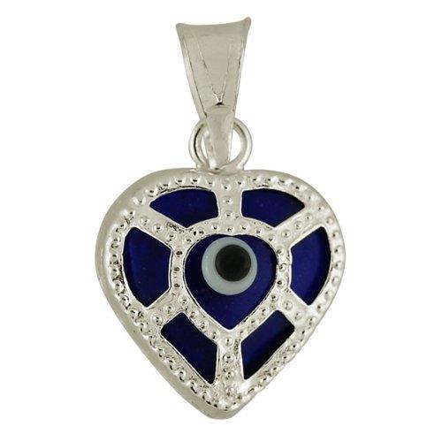 Sterling Silver Heart Evil Eye Pendant. Gift Box Included
