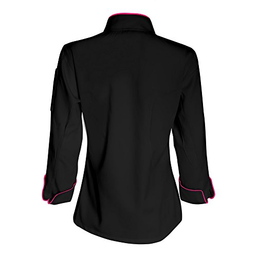 10oz Apparel Long Sleeve Womens Black Chef Jacket with Hot Pink Piping L
