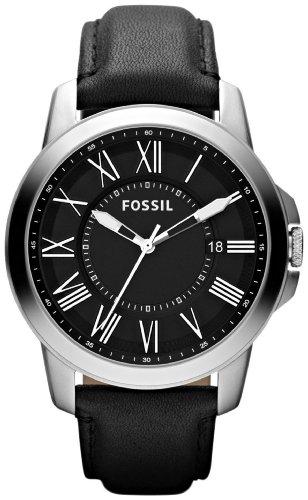 Fossil Men's FS4745 Grant Black Leather Watch