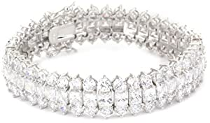 "Cubic Zirconia by Kenneth Jay Lane ""Classic Cubic Zirconia"" Rhodium-Plated Three-Row Clasp Bracelet"