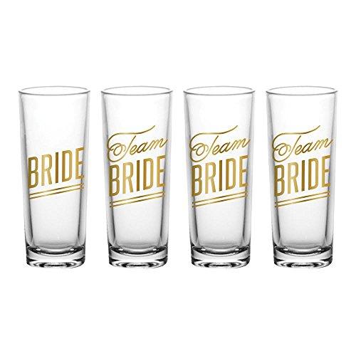 Team Bride Clear Shooter Shot Glasses 4 Piece Set - 2oz.