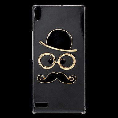 guoxian Fashion Rhinestones 3D Deluxe Hat Glasses Moustache Design Transparent Hard Back Case for Huawei P6