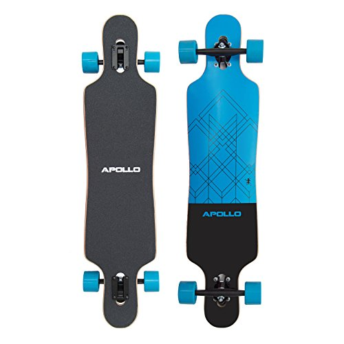 Apollo Longboard Special Edition Komplettboard mit High Speed ABEC Kugellagern inkl. Skate T-Tool, Drop Through Freeride Skaten Cruiser Boards