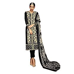 Pulp Mango Media's Exclusive Ethnic Wear Collection of Georgette Heavily Embroidered, Black Unstitched dress materials.