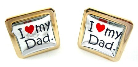 Gold Square I Love My Dad Cufflinks