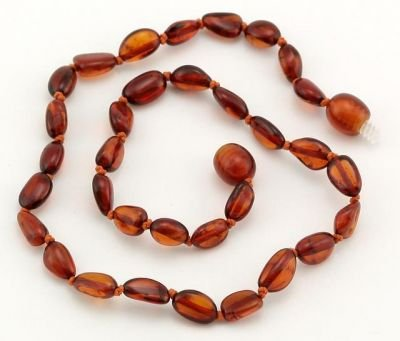 Certified Baltic Amber Teething Necklace for Baby (Cognac Bean) - Anti-inflammatory