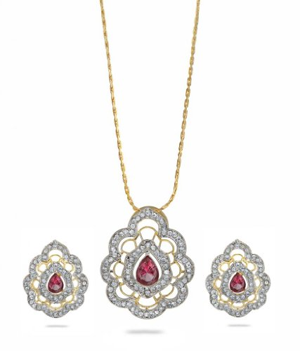 Eclat Rhodium Brass Alloy Pendant Set For Women(412379TTAP)