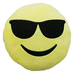 Royal Deluxe 12-Inch-by-4-Inch Sunglasses Emoji Plush Pillow