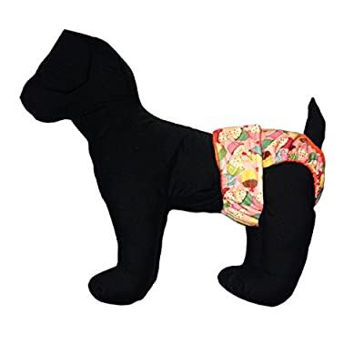 Barkerwear Waterproof Dog Diaper - Cupcakes Premium Fully Waterproof PUL Washable Diaper / Cover-up for Incontinence, Housetraining and Dogs in Heat