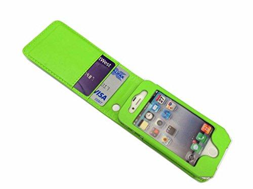 Valeur exceptionnelle Apple iPhone 4 4S vert diapositives Paper avec deux cartes Slots PU Housse en cuir pour Apple iPhone 4 4S