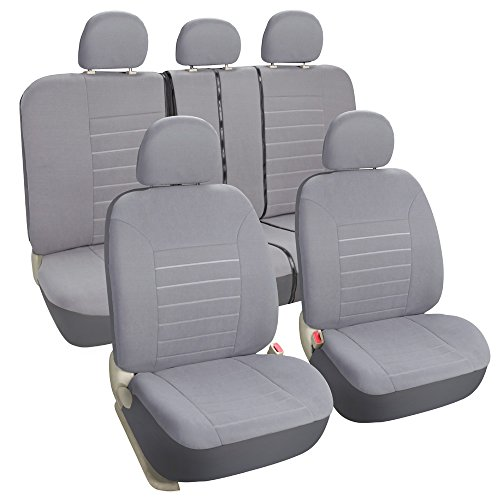 Leader Accessories 11pcs Universal Full Set of Car Seat Covers Grey - Front + Rear Bench / Spilt (Grey Universal Car Seat Covers compare prices)