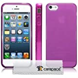 IPHONE 5 / IPHONE 5S TPU GEL SKIN CASE / COVER WITH FRONT & BACK SCREEN PROTECTOR (CLEAR PURPLE)