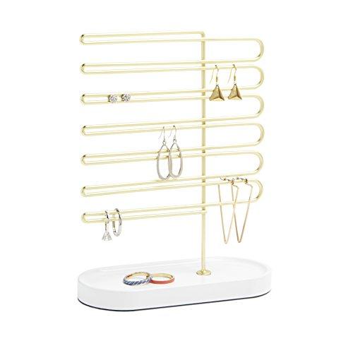 Umbra 299475-524 Jewelry Display Trinket Ohrringhalter, Schmuckständer, drei Ebenen mit Ablage, Metall, hochglanz weiß / gold