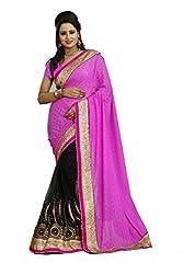 Radhe Krishna Creation Women's Net Saree(RKC03,Pink)