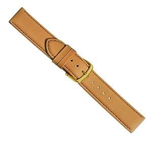 Herzog Beach watch strap watchband calf Leather Band brownbeige with Naht 20416G, Band Width: 12mm