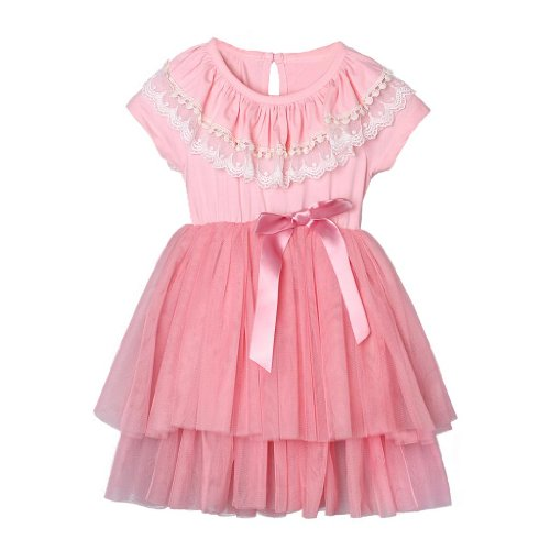 Pettigirl Girl'S Fashion Sweet Waist Dress Pink Princess Style Clothes For 5 Y front-226441