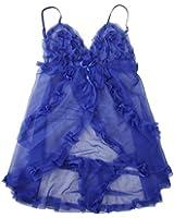 SODIAL(R) 2-pieces Nuisettes Pyjamas Lingeries Vetements de Nuit de Maille Sexy pour Femmes - Bleu