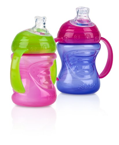 Nuby No-Spill Super Spout Grip N' Sip, Pink and Purple, 4 Plus Months