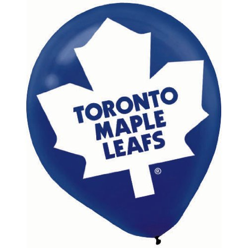 "Amscan Toronto Maple Leafs Printed Latex NHL Party Balloons, 12"", Blue/White"