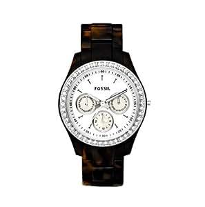 Fossil Women's ES2456 Tortoise Resin Bracelet White Glitz Analog Dial Watch