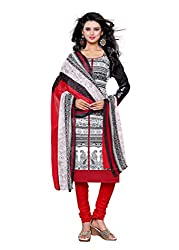 Salwar Style Design Women's Cotton Unstitched Salwar Suit Dress Material (SS1043_Free Size_White & Red)