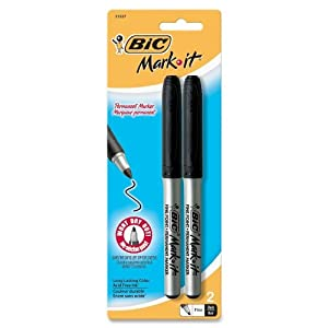 BIC Mark-It Permanent Marker, Fine Point, Black, 2 Markers (GPMP21-Blk)