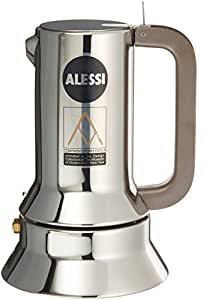 Alessi 3-Cup Espresso Coffee Maker in 18/10 Stainless Steel Mirror Polished with Magnetic Heat Diffusing Bottom
