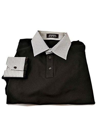 Polo Collo Camicia M/L Nero_C/Righe, XXXL MainApps