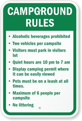"""Campground Rules Sign, 18"""" X 12"""" front-754994"""
