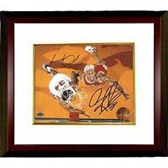 Charles Oakley signed New York Knicks 8X10 Photo Custom Framed w  Dennis Rodman -...