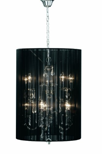 Premier Housewares Calice Silver Metal with Clear Drops and Black Ribbed Large Shade Chandelier Lamp