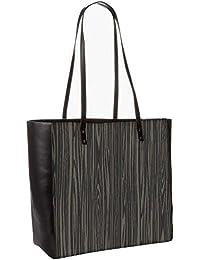 Black Wooden Texture Obo, Shoulder Bag Tote Faux Leather Handbag Satchel Tote