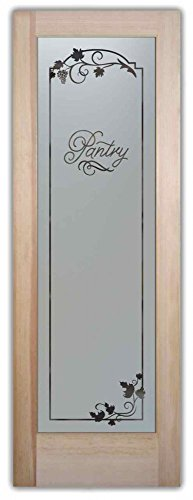 Pantry Door - Sans Soucie Etched Glass Interior Door, Doug Fir, Grape Ivy Melany 28 in. x 80 in. Book/Slab Door 1-3/8 in. (Interior Glass Slab Door compare prices)