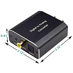 Digital to Analog Audio Converter,Musou 192Khz DAC Audio Aluminum Digital Coaxial Toslink Spdif Optical to R/L and 3.5mm Jack Audio DAC Converter Adapter with Fiber Cable