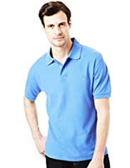 Blue Harbour Cotton Rich Slim Fit Marl Polo Shirt with Stay New™