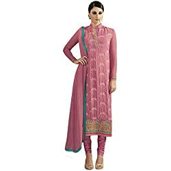 Latest Wize Pink Straight Cut Embroidered Georgette Party Dress Material with Chiffon Dupatta