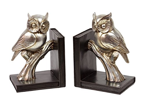 Benzara Shimmering and Glossy Resin Bookend Owl, Gold