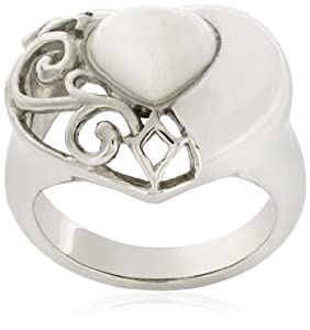 Sterling Silver White Coral Heart Filigree Ring by Amazon+Curated+Collection