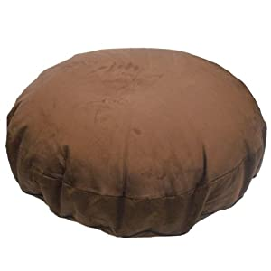 Faux Suede Chocolate Brown Round Bean Bag Cat Dog Pet Bed