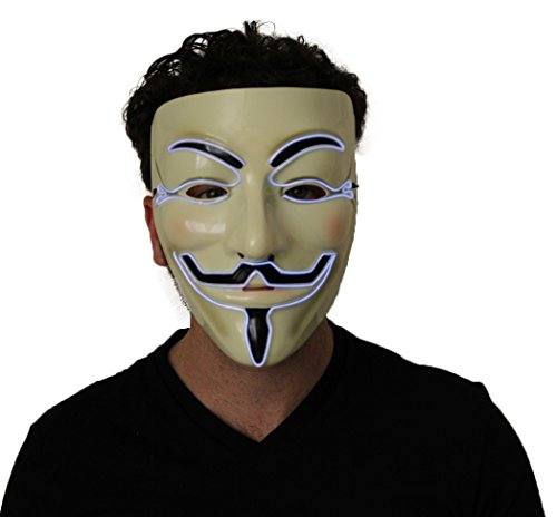 Silver Light Up V For Vendetta Glow EL Wire LED Guy Fawkes Anonymous Mask by Kandi Gear