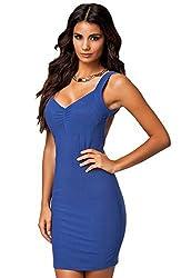 Qurves-Blue Bare Back Party Mini Dress