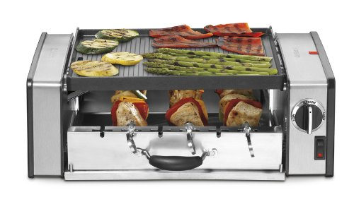 Cuisinart 1000 Watt Compact Indoor Grill And Griddler With 2-Tiered Grilling, Features Reversible Nonstick Die-Cast Grill/Griddle Plate, Six Piece Stainless Steel Skewer And Hot Dog Set With Adjustable Temperature Control And Dishwasher Safe, Removable Ke