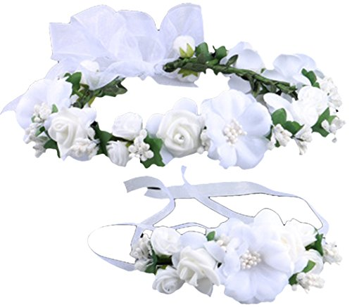Flower Crown Wedding Hair Wreath Floral Headband Garland Wrist Band Set White,OS