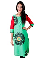 Shady Green ESTYLe Cotton Kurta With Block Prints